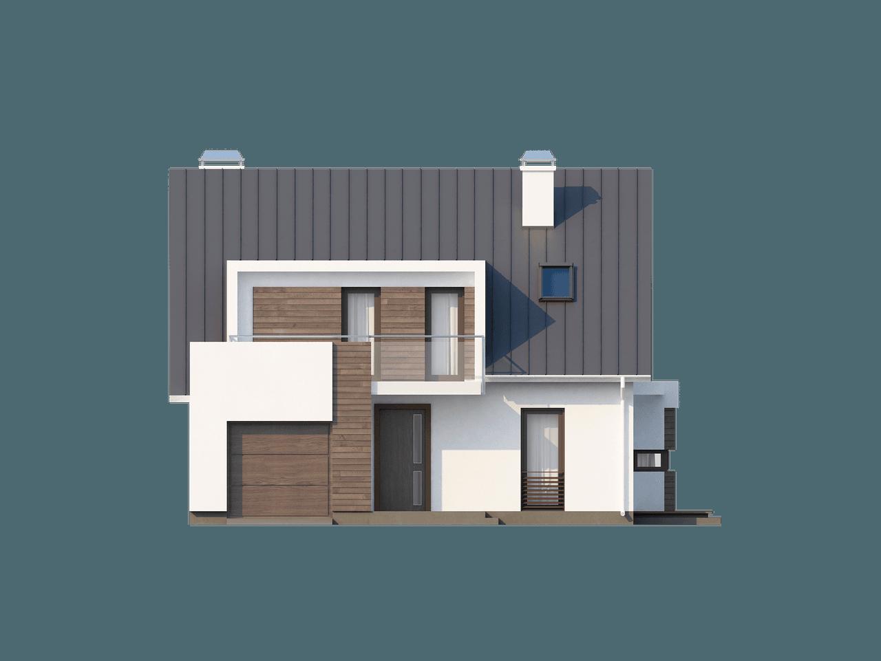 Gotowy projekt domu Z116 - Współczesny dom z poddaszem, wykuszem, lukarną i garażem od frontu.