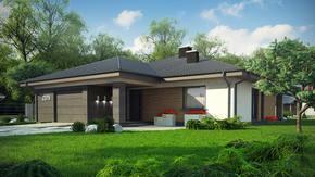 Z379 - Dom parterowy z dachem wielospadowym, 4 sypialniami oraz garażem do 140m2