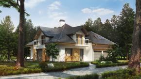 Z270 - Tradycyjny dom z dachem wielospadowym i lukarnami oraz garażem dwustanowiskowym
