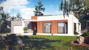 Zx104 - Parterowy dom w stylu nowoczesnym z garażem, jasnym salonem i 3 pokojami