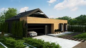 Z463 - Dom dwulokalowy z garażem dwustanowiskowym, poddaszem i tarasem na piętrze.