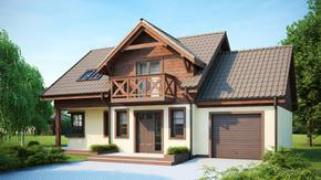 Z33 - Komfortowy i funkcjonalny projekt domu z poddaszem i garażem bocznym na 1 auto.