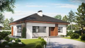 Z273 - Kompaktowy dom parterowy z trzema sypialniami przykryty dachem kopertowym.