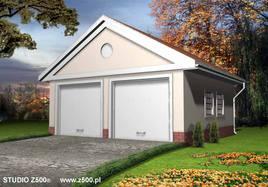 Projekt Garażu dwustanowiskowego, przekrytego dachem dwuspadowym. Budynek zaprojektowano w stulu dworkowym. W ścianie bocznej przewidziano luksfery.