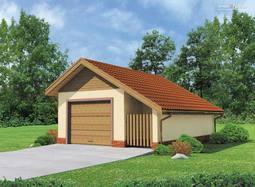 Projekt Garażu jednostanowiskowego, z dodatkowo wydzieloną powierzchnią użytkową posiadającą niezależne wejście z tyłu   Z przodu budynku znajduje się zadaszone miejsce na skład drewna bądź inne potrzeby. Budynek przekryty dachem dwuspadowym.