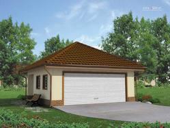 Projekt Garażu dwustanowiskowego, przekrytego dachem kopertowym. Z boku budynku znajduje się dodatkowe wejście do garażu.