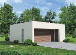 Projekt Garażu dwustanowiskowego, z dodatkowo wydzieloną powierzchnią użytkową posiadającą niezależne wejście z przodu budynku.