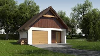 Projekt Garażu jednostanowiskowego, z dodatkowo wydzielonym pomieszczeniem gospodarczym posiadającym niezależne wejście. Istnieje możliwość wykorzystania poddasza jako użytkowe. Budynek przekryty dachem dwuspadowym. Istnieje możliwość przesunięcia, likwidacji lub dodania okien w ścianach bocznych.