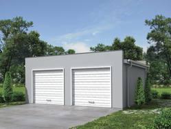 Projekt garażu dwustanowiskowego, z niskim kątem nachylenia dachu. Każde stanowisko z osobnym wjazdem. Prosta bryła, oszczędna we wszelkie dodatkowe elementy.