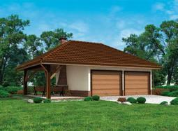 Projekt garażu dwustanowiskowego z altaną ogrodową i grillem. Budynek przekryty dachem kopertowym. Każde stanowisko z osobnym wjazdem. Klasyczna forma budynku.