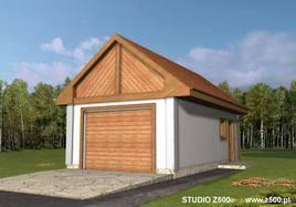 Projekt Garażu jednostanowiskowego, z dodatkowo wydzielonym pomieszczeniem gospodarczym posiadającym niezależne wejście z tyłu.Budynek przekryty dachem dwuspadowym. Istnieje możliwość przesunięcia, likwidacji lub dodania okien w ścianach bocznych.