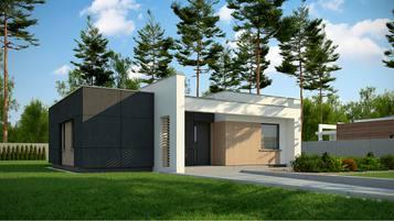 Zx77 A to nowoczesny dom parterowy o powierzchni 93m2 z zadaszonym tarasem oraz 3 sypialniami.