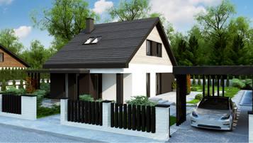 Z468 to propozycja domu o powierzchni 115m2 który zmieści się na wąską działkę.