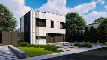 Zx90 - nowoczesny dom piętrowy w miejskim stylu na wąską działkę.