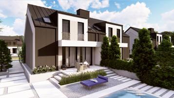 Zb38 to niewielki dom do zabudowy bliźniaczej we współczesnym stylu.