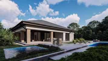 Z409 to propozycja współczesnego domu parterowego o powierzchni ok 130m2.