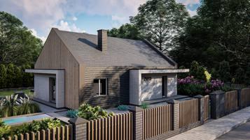 Z413 - współczesny dom parterowy z dachem dwuspadowym.