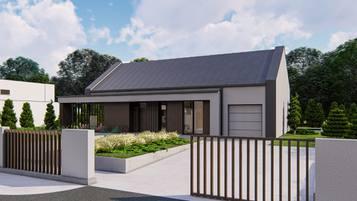 Z475 - niewielki dom parterowy o powierzchni 96 m2 z dachem dwuspadowym.