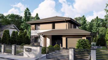 Z421 -  to propozycja współczesnego domu z pełnym piętrem.
