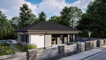 Z427 to kompaktowy dom parterowy o prostej bryle przekrytej dachem kopertowym.