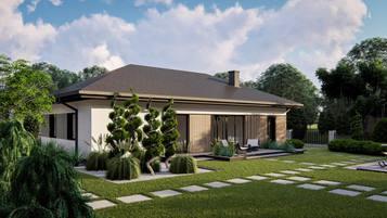 Z428 - kompaktowy dom parterowy o prostej bryle przekrytej dachem kopertowym.