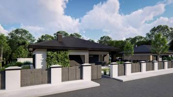 Z429 to kompaktowy dom parterowy o prostej bryle przekrytej dachem kopertowym.