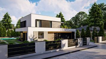 Zx172 to dwukondygnacyjny, nowoczesny dom o powierzchni użytkowej ok. 130m.2 z płaskim dachem