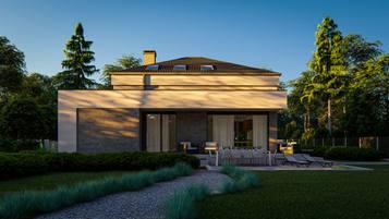 Z495 to nowoczesna wersja tradycyjnej bryły z czterospadowym dachem i garażem jednostanowiskowym.