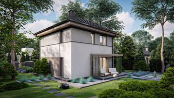 Z437 to  funkcjonalny dom piętrowy o prostej, energooszczędnej bryle na niecałych 100m2