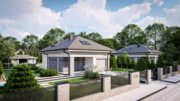 Z476 to kompaktowy dom z poddaszem użytkowym o prostej bryle przekrytej dachem kopertowym.