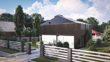 Z492 Współczesny dom z poddaszem użytkowym, dachem kopertowym i garażem